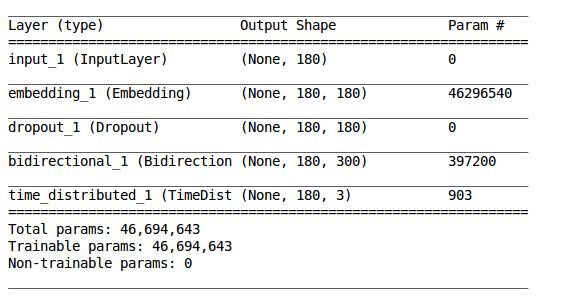 NER Model Summary